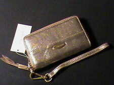 Elie Tahari genuine leather clutch wallet wristlet purse gold organizer zip NWT