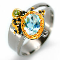 Natural Blue Topaz Peridot 2mm Gold plated 925 Sterling Silver Ring / RVS22