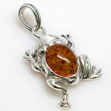 CUTE FROG GENUINE BALTIC AMBER 925 STERLING SILVER PENDANT