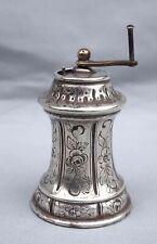 French Engraved Silverplate Pepper Grinder Rose Garlands 1900