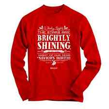 RED T-Shirt O Holy Night Brightly Shinning Kerusso RED Christian Long Sleeve  L