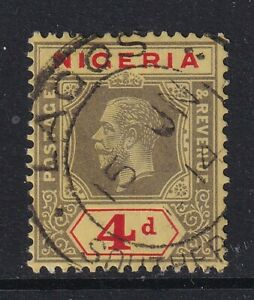 Nigeria 1914 - 29 KGV 4d Black/Red /Yellow Sg6 - fine used with CDS