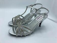 Dyeables Lexi T-Strap Dress Sandal w/Rhinestones (2027) Silver/Metallic Size 9M