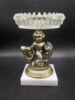 Vtg Hollywood Regency Cherub Riding a Fish Pedestal Candle Stand Marble Base