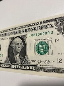 2013 $1 dollar bill ERROR Note Ink Smear  Trinary number 08100000 UNC, Top Rare!