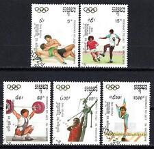 JO été Cambodge (52) série complète de 5 timbres oblitérés