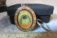 Enamal Image Of A Pekingese On A Swivel Key Chain-New