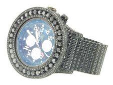 Para hombre Breitling Super Avenger Negro sobre Diamante Negro Reloj 30 CT completamente cargada