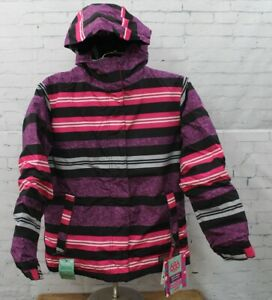 686 Girls Mannual Heather Insulated Snowboard Jacket Large Lt Plum Stripe Youth