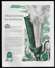 1944 Vintage Print Ads 40's QUAKER STATE Motor Oil Steam Whistle Illustration