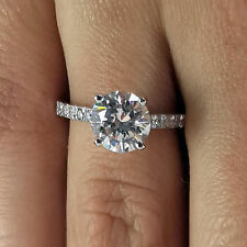 Round Cut Solitaire 1.40 Ct Diamond Engagement Ring White Gold Finish Size N