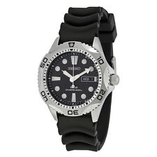 Seiko Solar Quartz Dive Black Dial Mens Watch SNE107P2