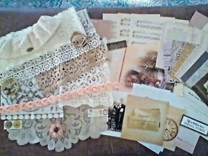 Junk journal supplies, 60 vintage theme cuts lace, trims, old music pages, etc