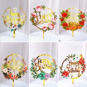 Glitter Gold Flower Print Acrylic Cake Topper Birthday Party Happy Decoration UK