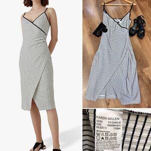 Karen Millen Black White Striped Crossover Strap Dress UK14