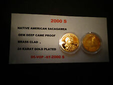 2000 S Native American 24 KT GOLD-Sacagawea Dollar Deep GEM Cameo USA Proof Coin