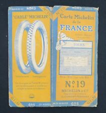Carte MICHELIN n°19 TOURS BLOIS ANGERS 1923 map Mapa Bibendum pneu guide