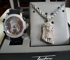 MEN'S SILVER FINISH ICED OUT BLING JESUS DRESSY WATCH & NECKLACE GIFT SET BOX