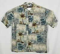 WOOLRICH MENS Hawaiian Shirt LARGE short Sleeve SILK BLEND Button Front EUC EUC!