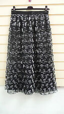 REDUCED BLACK & SILVER SWIRL DETAIL LONG LENGTH  PARTY SKIRT SIZE 10 BNWT
