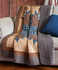 STARLIGHT BROWN THROW : COUNTRY BLUE STAR CABIN LODGE PLAID QUILTED BLANKET
