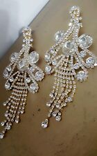 CHANDELIER Goldtone silver Clip on Crystal earrings drag queen beauty pageant
