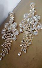 CHANDELIER Goldtone silver Clip on Crystal earrings drag queen beauty pageant