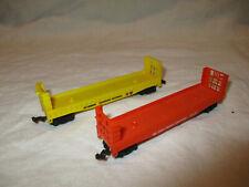 Pair Aurora Bulkhead flat cars N Scale