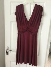 Señoras vestido de cuello en V Next Borgoña Talla 14