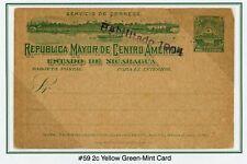 "Nicaragua Postal Stationery PC - H&G #59 2c Green ""Habilitado 1904"" $$$"