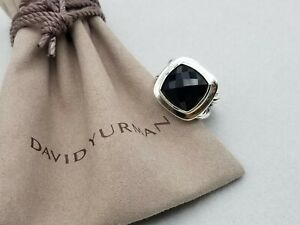 David Yurman Sterling Silver 14mm Albion Ring with Black Onyx, size 7