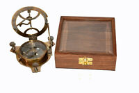 """Antique finish brass 4"""" compass maritime marine sundial compass with wooden box"""
