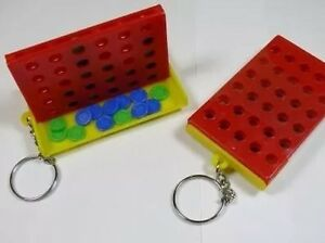 Mini Connect 4 Four Line Up In A Row Board Game Family Keyring Chain Key Ring