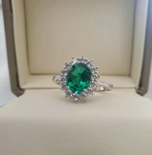 White gold finish oval Cut green Emerald created diamond ring size S