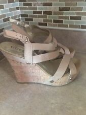 Guess Sandals Women's size 8 Nude Leather Straps with Faux Cork Heel Wedge Heel