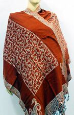New Indian Silk pasmina  reversibel scarf Kashmir wool neak Wrap women shawl