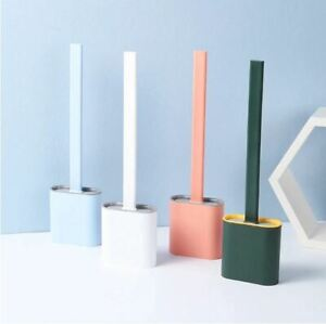 Silicone Toilet Brush & Quick Drying Holder Wall-Mounted Cleaning Soft Brush Set