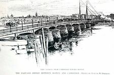 Harvard Bridge 1890 BETWEEN BOSTON CAMBRIDGE Antique Matted Engraving Art Print