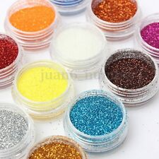 12Pot/Set Nail Glitter Powder Cosmetic Eye Shadow Lip Face Body Art Nail Decor