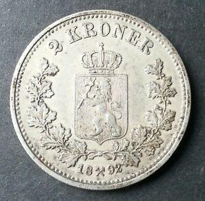 NORWAY 2 Kroner 1892 aVF