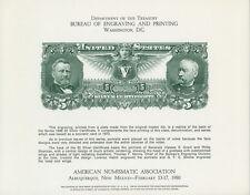 BEP SOUVENIR CARD B46 ANA '80 1896 US $5 SILVER CERT. INTAGLIO GRANT & SHERIDAN!