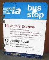 Vtg/Used 2 Sided CTA Bus Stop 14 JEFFERY Chicago Aluminum Sign 24 x 18 S613