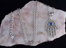 Hamsa Hand, Blue Diamante Eye,Lucky Amulet Silver Chain Necklace.Handmade