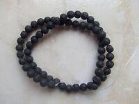 1filo/ 60pz  perline pietre di lava vulcanica tondo 6mm  colore nero