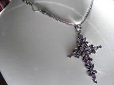 Ravishing! 35g sterling silver 925 amethyst cross pendant choker collar necklace