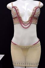 Exotic Dancer Stripper Dancewear Clubwear Pole Dancer Bra Skirt Set Rhinestones