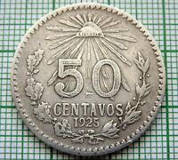 MEXICO 1925 M 50 CENTAVOS, SILVER, SCARCE DATE