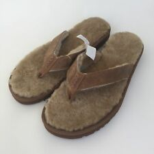 Ugg Australia Classic Sandal Mens 18 Flip Flops Tan Leather Sheepskin Fur Lined