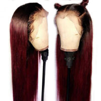 Ombre Burgundy #1BT#99J Human Hair Wig 13X6 Lace Front Wig Pre Plucked Full Lace