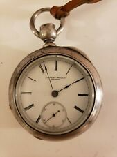 Antique Working 1876 ROCKFORD Victorian Key Wind Mens Silver Pocket Watch 18s